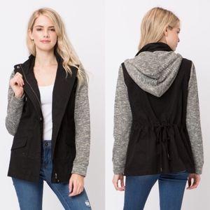 ROSLYN Hoodie Jacket - BLACK